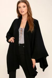This black poncho from Lulus is the perfect addition to your Winter wardrobe.