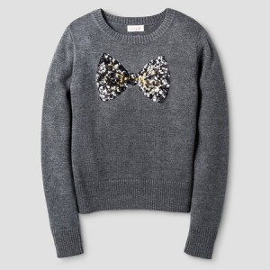 This girls' sparkle bow, pullover sweater is perfect for the little princess in your life.