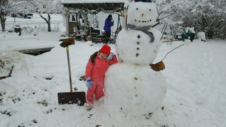 Addie couldn't wait to build the first snowman of the season this weekend. Check out this guy and more on the blog now!