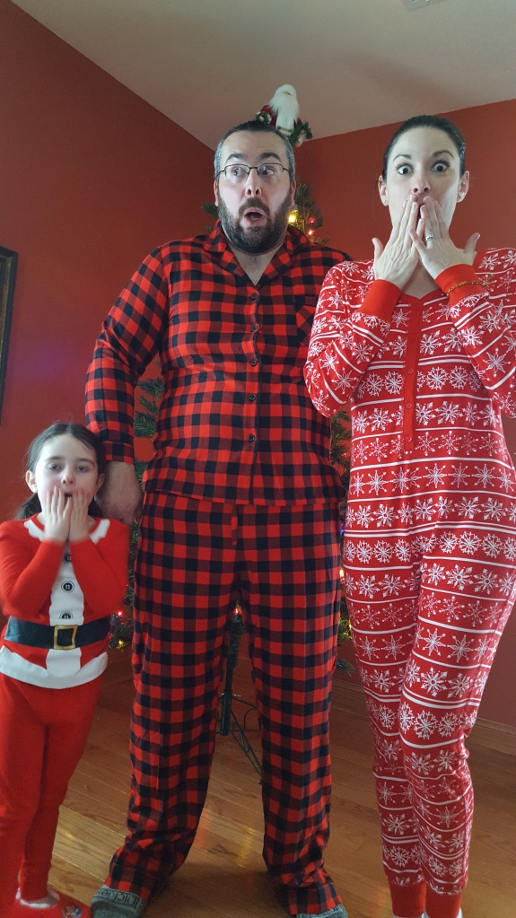 So these plaid pajamas were what Matt was supposed to wear for our Christmas card photos but I got them in a Women's XXL. Oops!