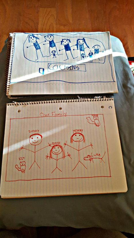 Addie and I drew our stick family while killing time this weekend.